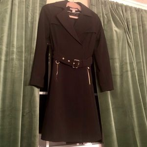 Black Trench Coat with gold colored accents